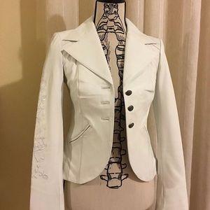 Leather white blazer
